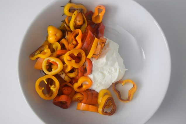 Mini Sweet Peppers and Whipped Coconut Cream