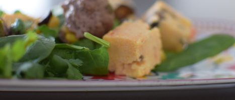 Green Chili Meatballs with Polenta Croutons-004
