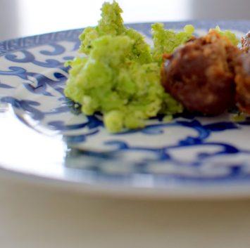 Basil Broccoli Mash & Bison Blue Balls