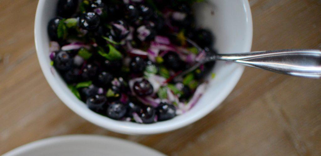 Blueberry Cilantro Salsa & Pan Fried Pork Chops-003