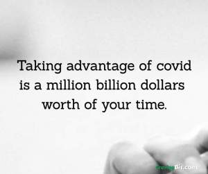Taking advantage of covid is a million billion dollars  worth of your time.