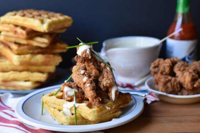 Fried Chicken and Cornmeal Chive Waffles with Maple Creme Fraiche | Cravings & Crumbs