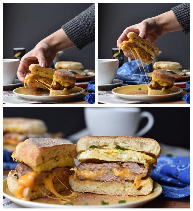 Cheddar Stuffed Breakfast Sandwiches | Cravings & Crumbs