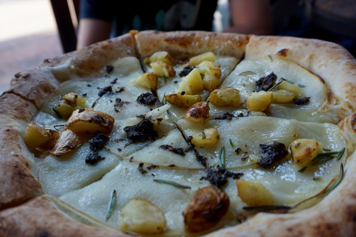 Patate Pizza: Roasted Potato, Rosemary, and Black Truffle Pate.