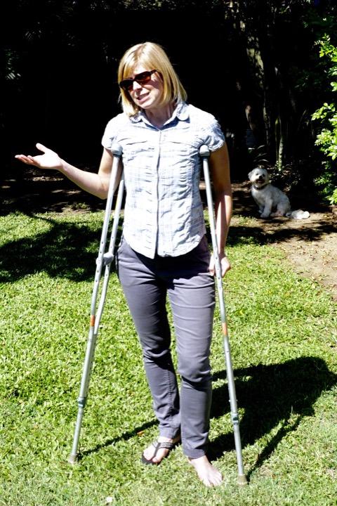 Jill on crutches