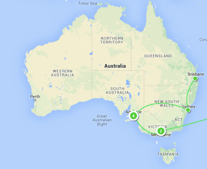 Map of 2015 travels