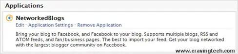 NetworkedBlogs application settings