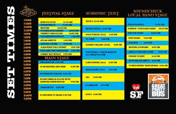 BFD 2013 Set Times