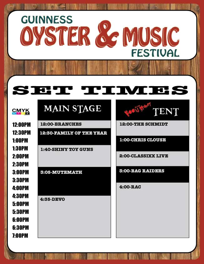 San Francisco Oyster and Music Festival Set Times and Details