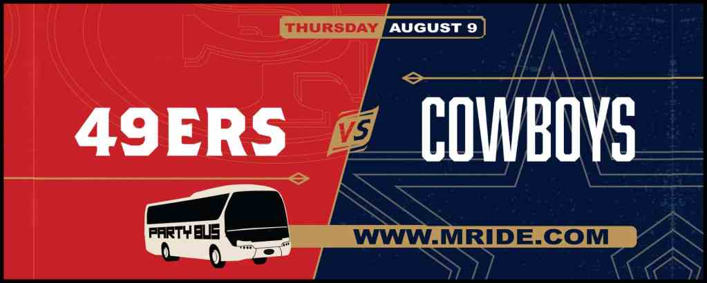 Niners vs. Cowboys Party Bus to Levi's Stadium