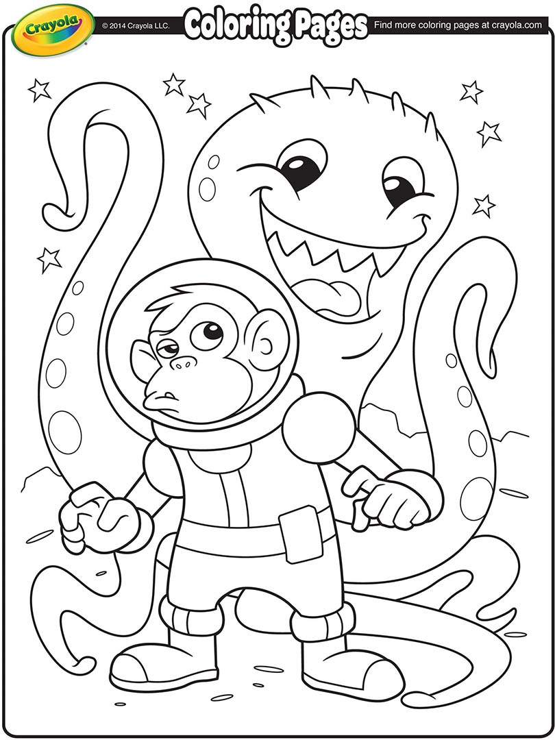Space Alien And Monkey Astronaut Coloring Page Crayola Com