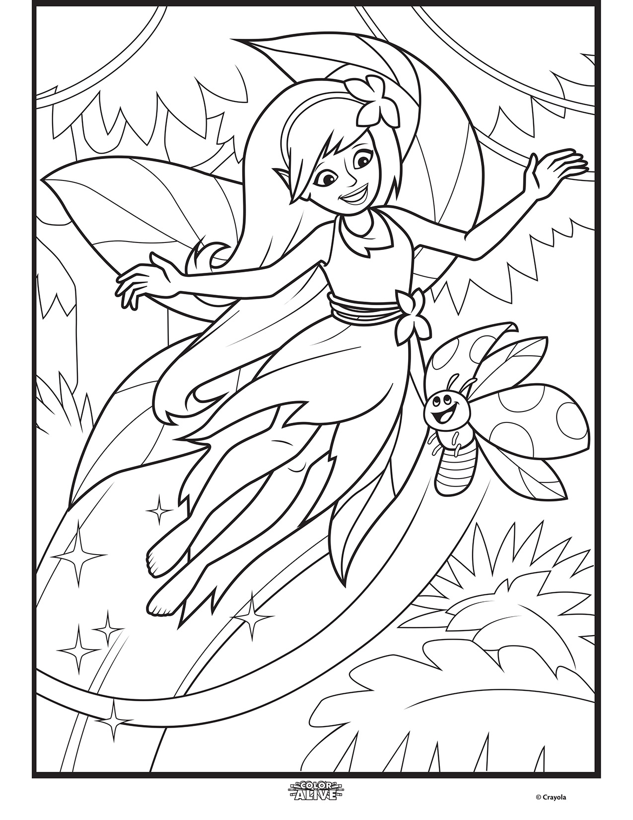 color alive enchanted forest fairy coloring page crayola com