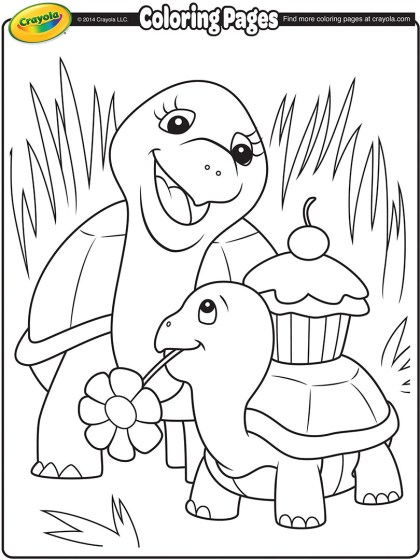 turtle mommy coloring page crayola com