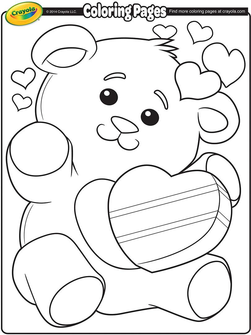 valentine s teddy bear coloring page crayola com