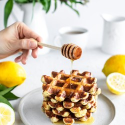 Light and Fluffy Lemon Ricotta Waffles with Poppy Seeds.