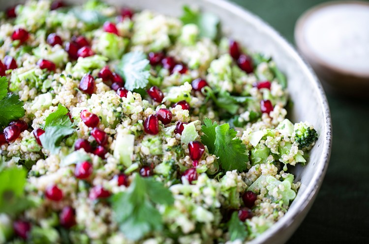 Cumin, Quinoa and Broccoli Salad with Yoghurt Dressing.