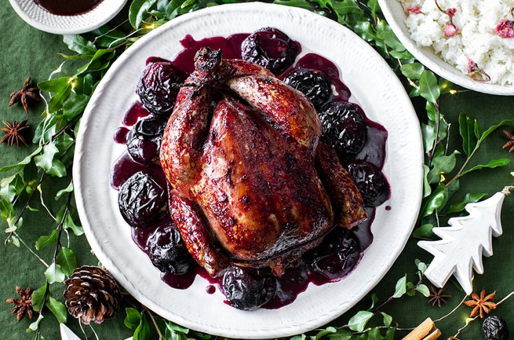 Black Doris Plum and Five Spice Roasted Chicken.