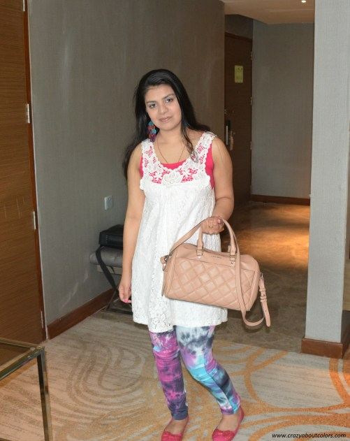 OOTD white lace top with colored pants (1)