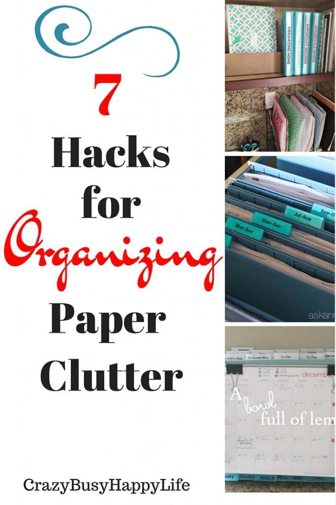 Great ways to organize paper clutter in your home. I don't know about you but I can't stand paper clutter. Try these seven hacks to tame the clutter.