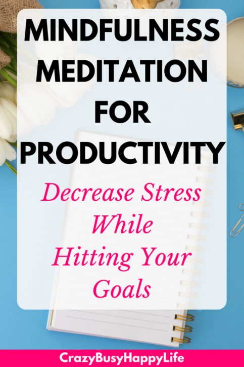 Mindfulness meditation for productivity. Learn how to decrease stress while hitting your goals. #productivity #mindfulness #meditation #mindfulnessmeditation