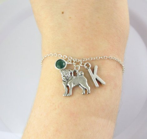 personalized pug bracelet. Best gifts for pug lovers