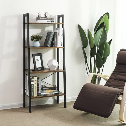 Home Office Shelving for an organized home. SONGMICS Vintage Ladder Shelf, 4-Tier Bookcase, Plant Stand Storage Garden, Bathroom, Living Room, Wood Look Accent Furniture Metal Frame #affiliatelink