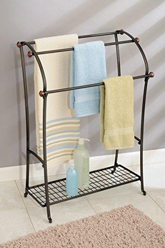 Organize a small bathroom with a towel rack