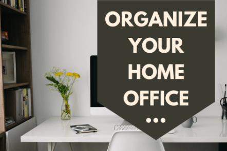 organize home office with shelves