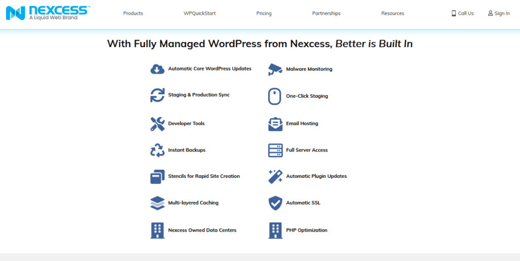 nexcess managed WP hosting feature set Twin Front