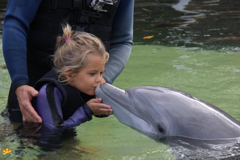Kissing a dolphin in Key Largo!