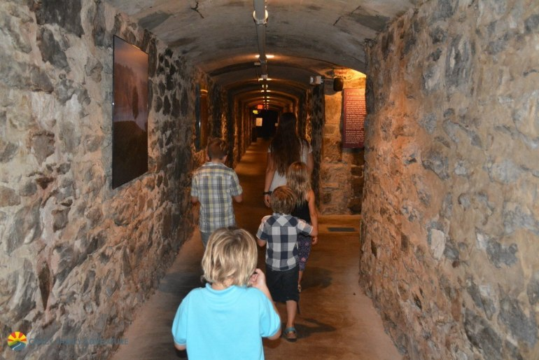 Walking through the wine cellar at the Biltmore Estate