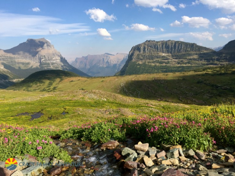 A look out over the meadows along the Hidden Lake trail in Glacier National Park