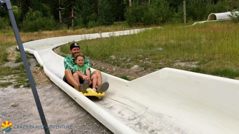 Cruising down the Alpine Slide at Whitefish Mountain Resort