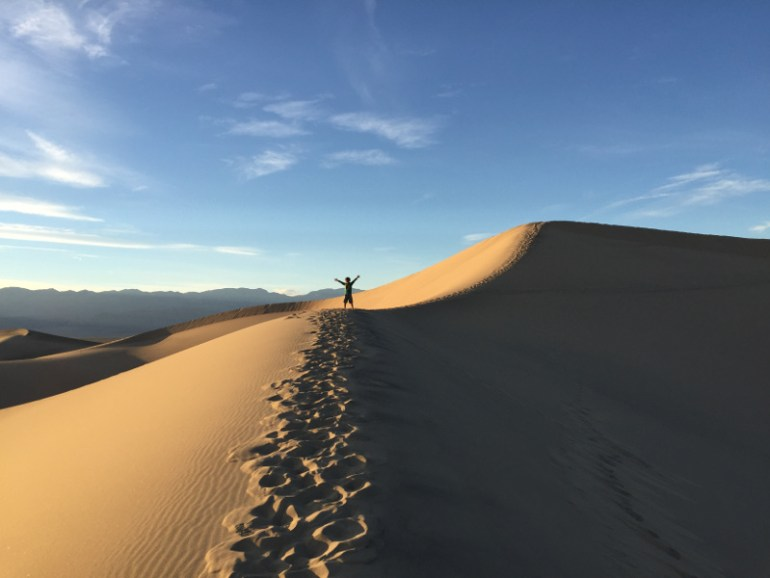 Walking the sand dunes in Death Valley National Park