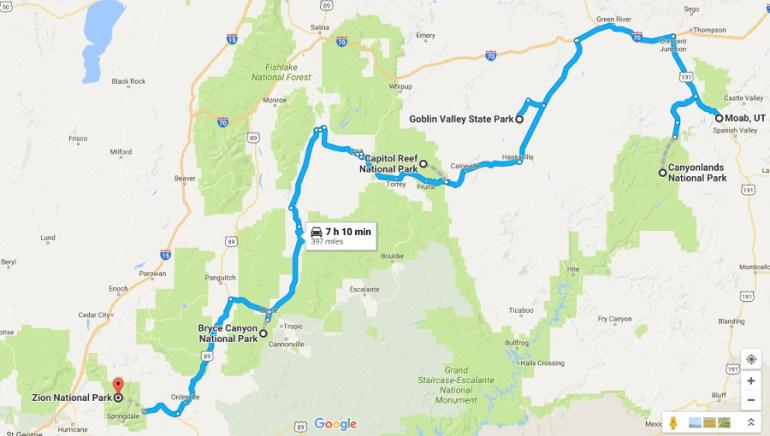 Utah Road Trip Map