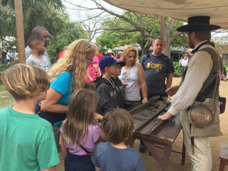 The kids loved learning about the weapons used to defend the Alamo.