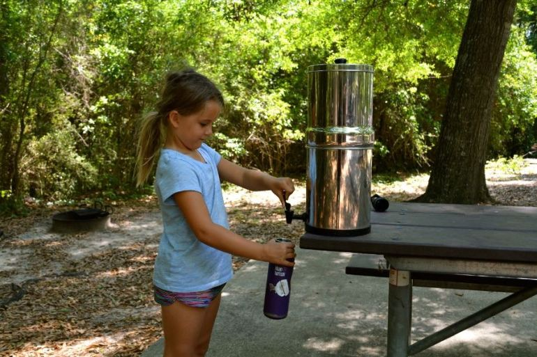 Filling up from our Travel Berkey Water Filter