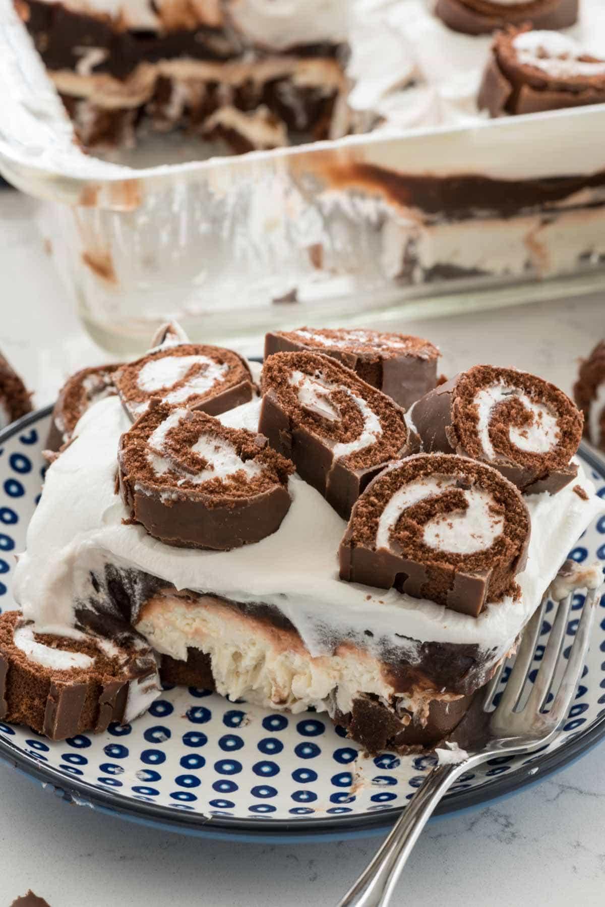 Swiss Roll Layered No Bake Dessert