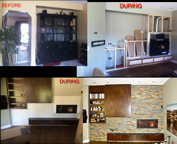 Fireplace Bfore Renovations during and after