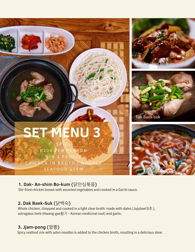 Crazy Korean Set Menu 3