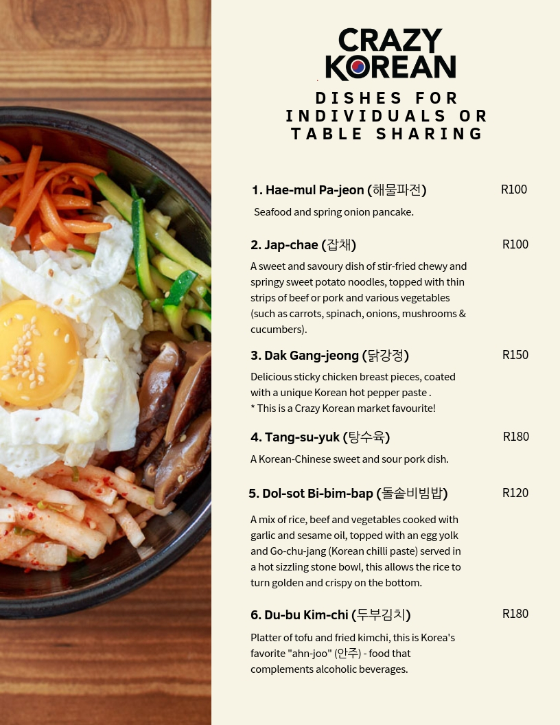 Crazy Korean Menu