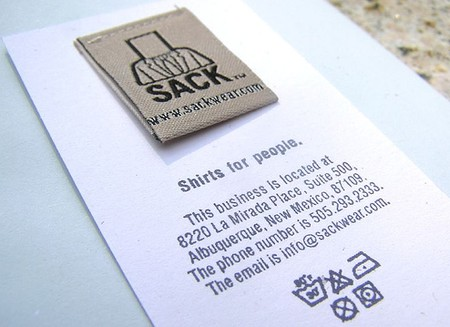 Sack Wear business card design
