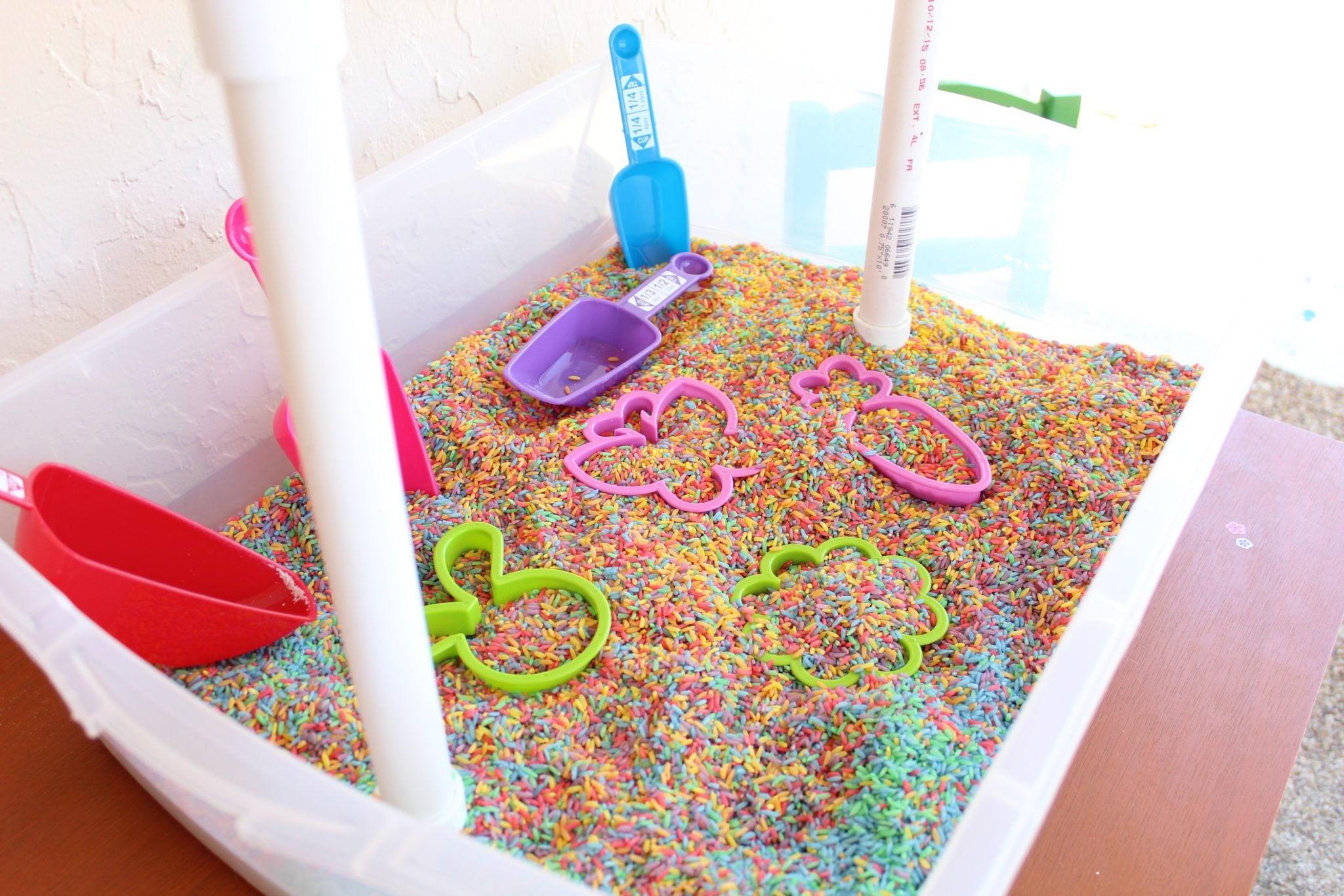 Rainbow Rice Sensory Bin for Toddlers