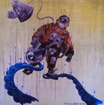 """Kosmonaut - Attack"" 70 x 80 Acrly auf Leinwand"