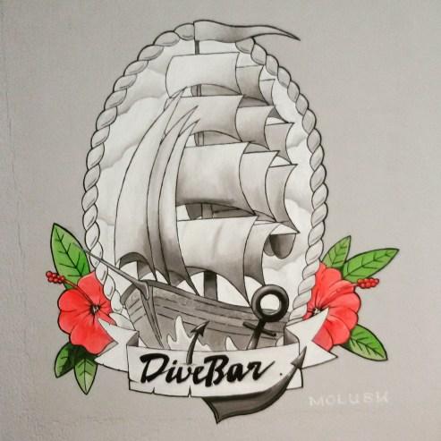 Tattoo-styled Sailing Ship || Dive Bar Munich || 100 x 100 cm || Acryl auf Rauhputz
