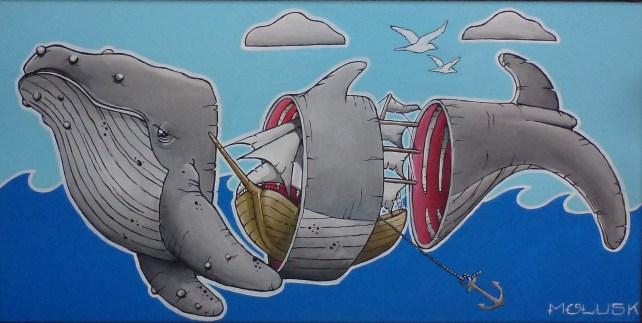 """Ahoi! Wal in Scheiben!"" Acryl auf Leinwand || by Crazy Molusk"