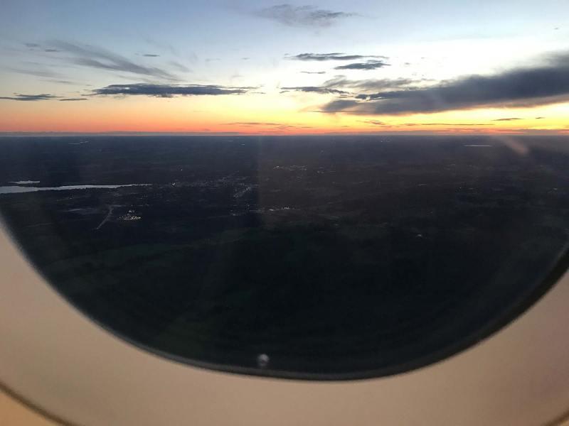 Airplane window view of Helsinki, Finland.