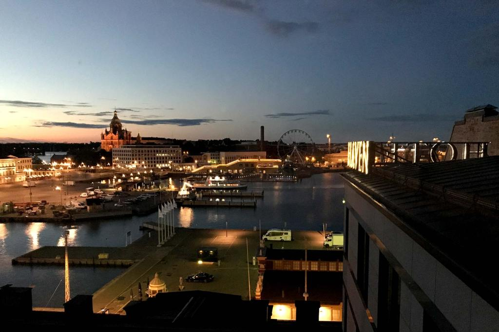 Helsinki Harbor at midnight.