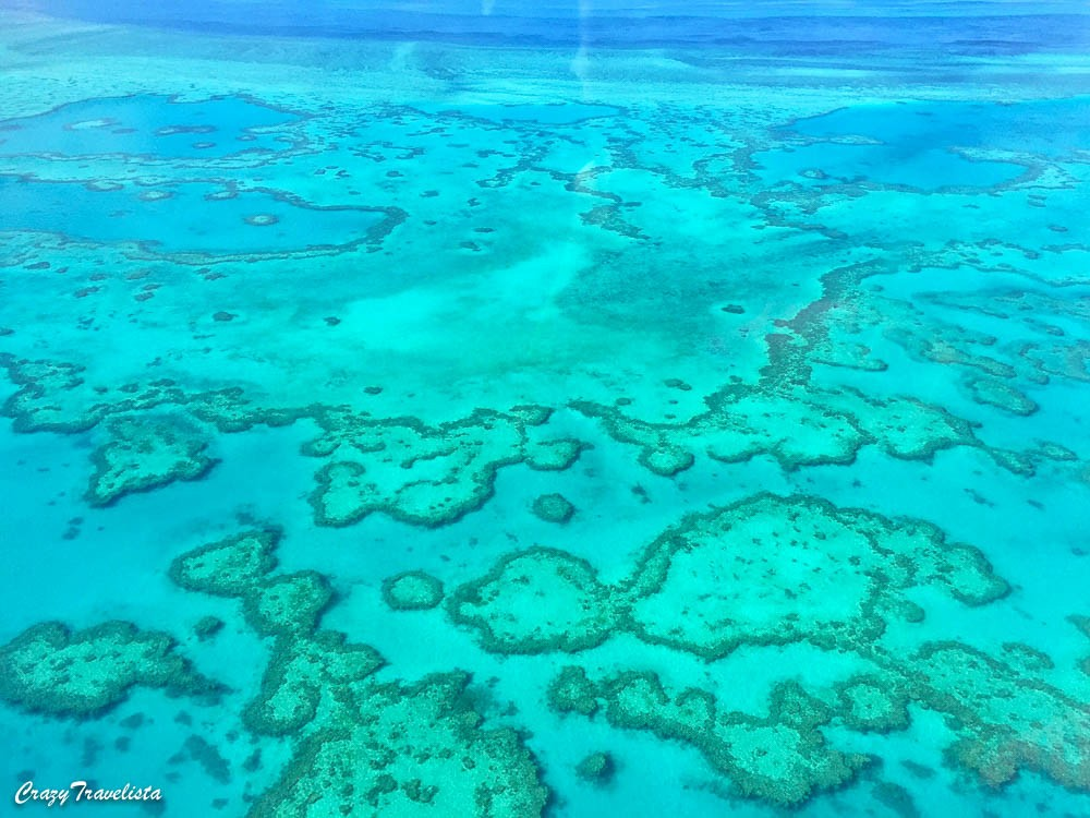 flying over the Great Barrier Reef