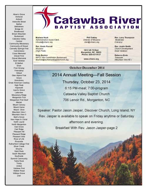Post Office Newsletter October-December 2014 | Catawba River